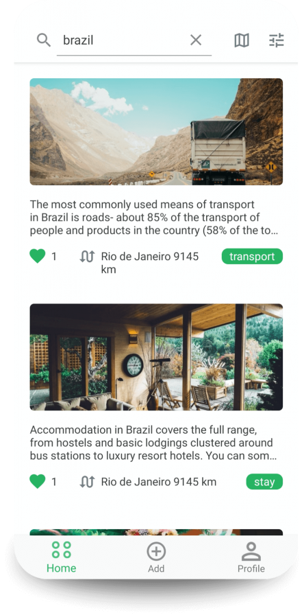 Travel Hacks App feed