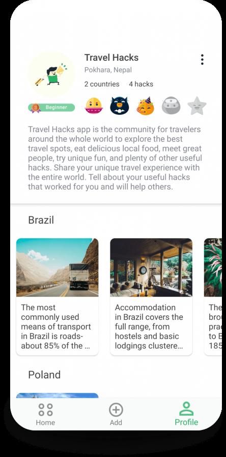 Travel Hacks App profile